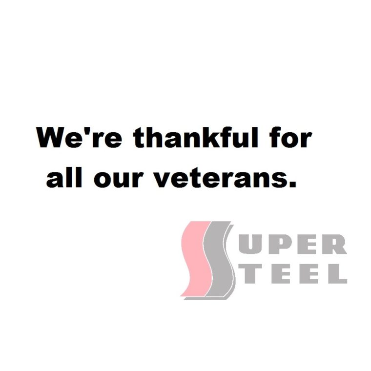 Thankful for our veterans with super steel logo